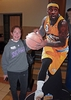 "Ann Feldman Perille '76 with ""stand-out"" Nuggets player, Ty Lawson"