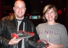 Sean Rice and Beth Kaspar '97 tried to intimidate the other Knox bowlers with their bowling shoe booties.